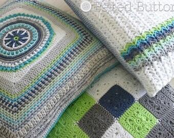 Crochet Pattern, Taking Shape Pillow, Cushion Cover, Square Pillow, Modern