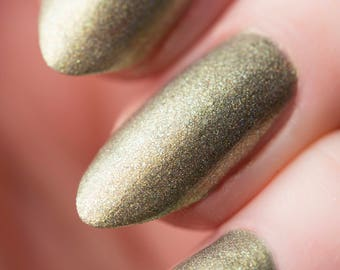 Feral nail lacquer - Gilded Green Holographic nail polish - Tips from the Wasteland - .45oz/13.2mL