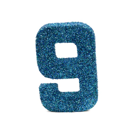 """8"""" Glitter Number 9, Paper Mache Number 9, Giant Blue Number, Centerpiece Number Nine, Table Letters, Large Decorative Blue Number Birthday"""