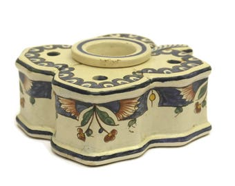 Antique French Faience Inkwell and Pen Stand. Four-Leaf Clover Hand Painted Pottery Ink Pot. Blue and White Ceramic Desk Decor.