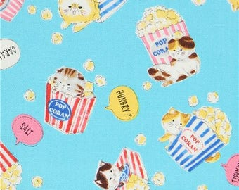 217828 blue with funny cat animal popcorn food oxford fabric by Kokka