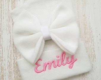 Newborn girl personalized hospital hat- baby girl hospital hat, baby girl hat, newborn beanie, pink baby hat, newborn girl hat, baby bow