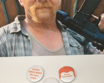 ABRAHAM FORD QUOTES - Set of five The Walking Dead inspired pin badges, button badges, brooches. Lucille