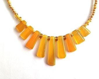 Golden Yellow Agate Gemstone Bib Statement Necklace