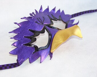 Purple Hand Sculpted Leather Bird Mask finished with Gold and Purple metallic paint.