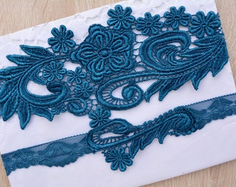 Teal Blue Garter, Wedding Garter, Lace Wedding Garter, Wedding Garter Set, Something Blue, Garter, Blue Garter, Bridal Garter, Teal Garter