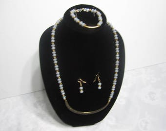 Handmade gray and gold necklace set