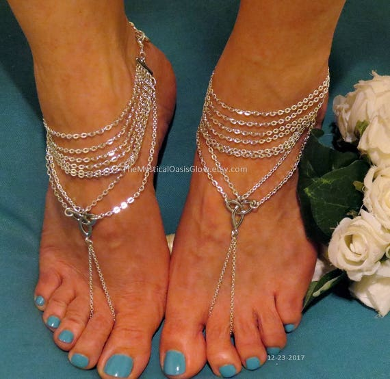 beach Body jewelry slave sandals wedding anklet chain barefoot PAIR sandals slave ring Sandals Wedding toe beach jewelry Celtic Barefoot xEOqRfanw0
