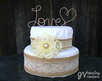 Love Cake Topper, Wire cake topper, Custom Cake Topper, Personalized Topper, Wedding Cake Topper,  Rustic Cake Topper, Cake Decoration, Love