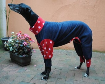 Greyhound & Whippet Pyjamas Red Star and Blue