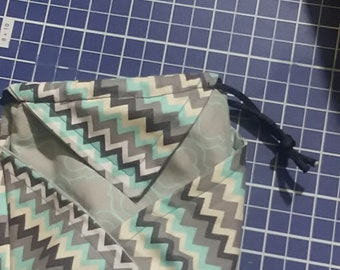 Handmade small Japnese origami style drawstring belt loop bag