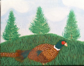 Hand painted Pheasant painting (mini)