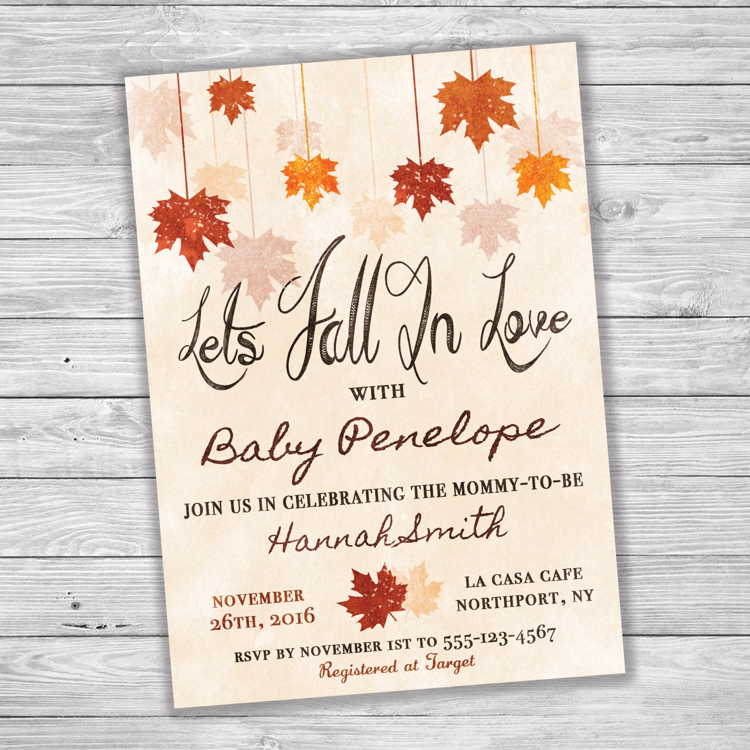 Falling Leaves Let\'s Fall In Love Baby Shower Invitation
