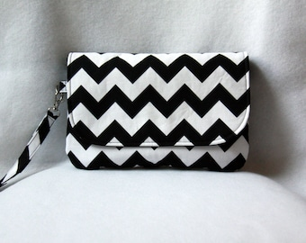 Diaper Clutch - Black and White Chevron with Optional Changing Pad