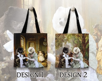 Pomeranian Tote Bag. Pomeranian Bag. Pomeranian Portrait. Personalized Dog Tote Bag. Custom Dog Portrait