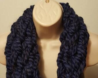 Navy Blue Chunky Arm Knit Infinity Scarf