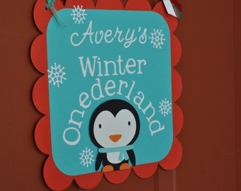 Winter Onderland Door sign, any colors you choose, penguin, snow, wonderland party, first birthday