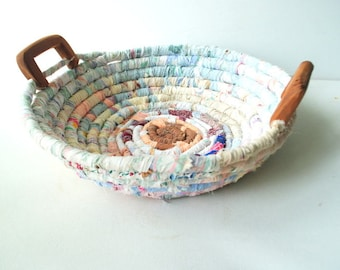 Sweet chubby cheeks vintage 60s pastel, multicolor fabric, wrapped rope, hand made basket with a chunky wooden haldles.