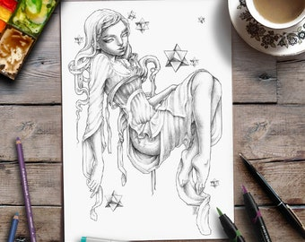 Printable Coloring Page | Grayscale | Fantasy | Zan Von Zed
