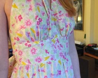 """Vintage Mr. """"B"""" of California floral halter dress, size 8"""