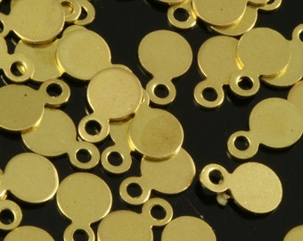 400 Pcs Raw Brass 4,5 mm Circle tag Charms ,Findings 702R-30 tmlp