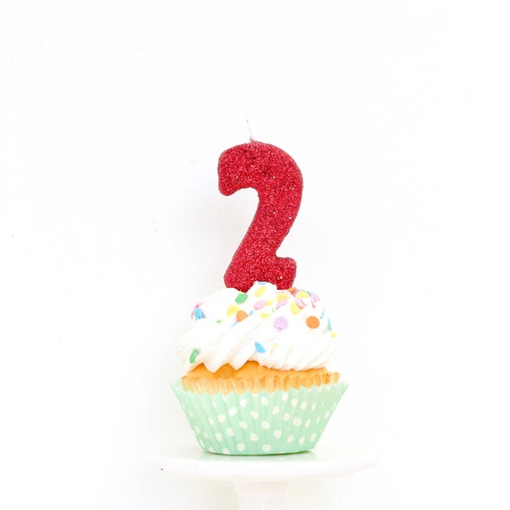 """3"""" Number 2 Candle, Giant 2 Candle, Red Candle, Red Party, Glitter Birthday, 2nd Birthday Candle, Gold Birthday Candle, Pink"""