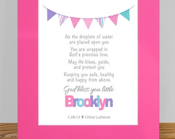 Baptism Gift - Personalized Girls Prayer Wall Art Print with Flags - Christening Gift, Dedication Gift, Religious Gift