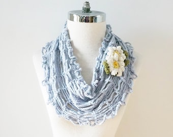 Daisy Infinity T-Shirt scarf, summer scarf, Daisy brooch scarf, merino wool and silk hand painted yarn, One of a Kind, ready to ship
