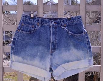 Vintage Denim Shorts Festival Shorts Cuffed Bleached Hem Handmade Upcycled Dark Wash High Waisted Jeans Womens Festival Clothing M