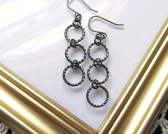 Gunmetal Triple Hoop Dangle Earrings - Minimalist Simple Earrings