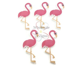 "Pink Flamingo Resins Embellishments Acrylic 2"" Flat Back Tropical Bird Planar Resin Applique Supplies DIY"