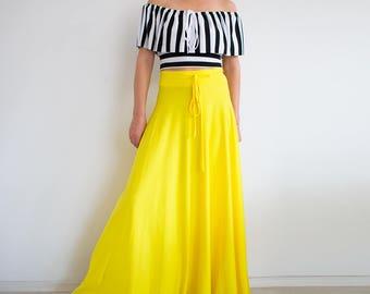 Yellow maxi skirt/ Hight waist skirt/ long skirt/ Plus size skirt/ Bohemian skirt/ Long summer skirt/ xl skirt 3xl skirt/ circle skirt SALMA