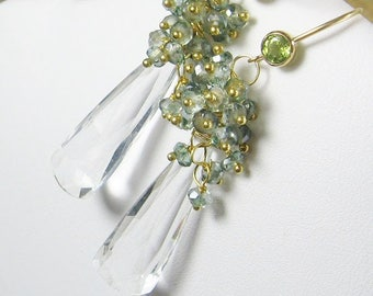 Teal Quartz Gemstone Cluster Long Dangle Earrings, Elongated Gemstones