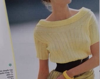 Ribbed  Scoop Neck Top .Knitting Pattern PDF File (c21)