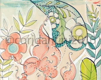 watercolor painting of a Mermaid by Cori Dantini, Mermaid Days, Blend Fabrics - 5 x 10 - limited edition archival print