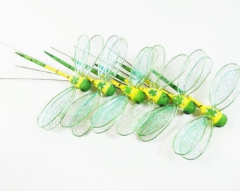 6 Green Dragonflies 3.5 Inches Dragonfly Embellishments Artificial Dragonflies Fake Dragonfly Craft Dragonfly