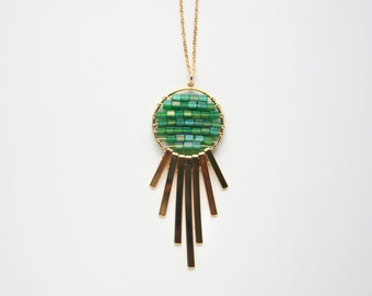 Dreamcatcher Necklace, Bohemian Jewelry, Long Green Necklace