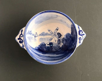 Hand Painted Windmill Bowl / Blue and White Delft Style / Made in Japan