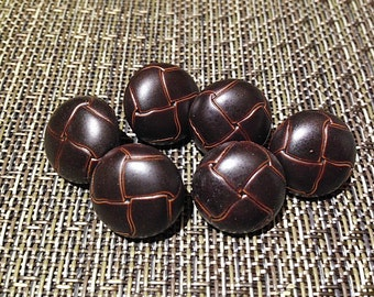 "Vintage 3/4"" Dark Brown Expresso Woven Style Buttons NEW Retro"