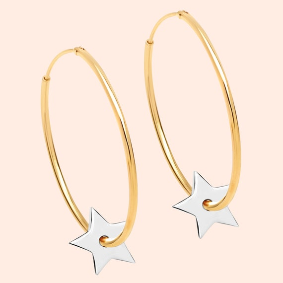 "Lovely new 14ct gold and sterling silver ""On Another Planet"" star hoop earrings"