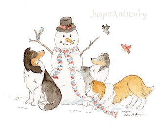 Sheltie Christmas Art - Holiday Dog Print- 5X7 8x10 11x14 PRINT- Shetland Sheepdog Art- Holiday Wall Art Shelties with Snowman Holiday Decor