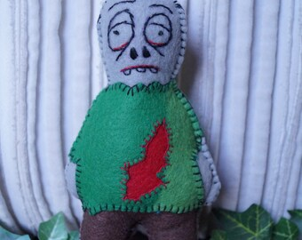 zombie doll, little monster doll, stuffed doll, felt doll, handmade doll pocket sized doll