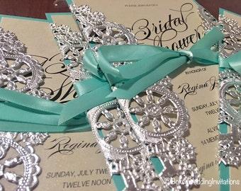 Silver laser cut invitation card/ Quinceanera Invitation Card/ Birthday Invitation/ Sweet 16 Invitation/ Bridal shower invite