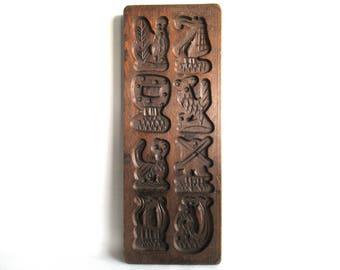 Wooden cookie mold Dutch Folk Art Cookie Mold. Speculaas plank, Springerle, windmill, mermaid, ship. #6AFG7FK1