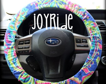 Steering Wheel Cover Lilly Pulitzer Multi Toucan Play Fabric Fully lined with Grip Tight Designer Car Accessories Coral For Girls Woman