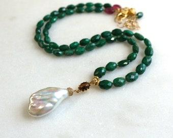 Green Emerald, Baroque Pearl Focal Fine Gemstone Necklace...