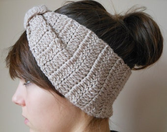 Crochet Headband  Ear Warmer Turban Head Warmer Beige