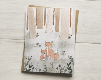 Forest Foxes - Mother's day card, card for new mom, new baby card, happy mother's day, cute mother's day card, fox mothers day, fox card