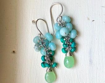Gemstone Dangle Earrings - turquoise earrings - gift for her - boho gift for mom - boho gift earrings - ocean jewelry - Sara Westermark