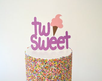 Two Sweet Cake Topper - Ice Cream Cake Topper - Ice Cream Birthday Party - Second Birthday Cake Topper - Ice Cream Birthday Decorations